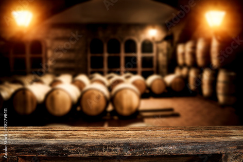 Carta da parati Wooden old barrel and free space for your decoration.