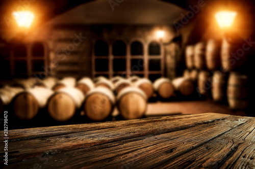 Tela  Wooden old barrel and free space for your decoration.