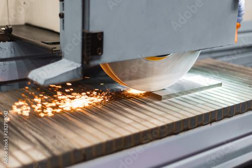 Work of an industrial surface grinding machine Fototapeta
