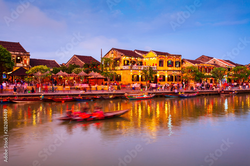 Leinwand Poster  Hoi An ancient town riverfront