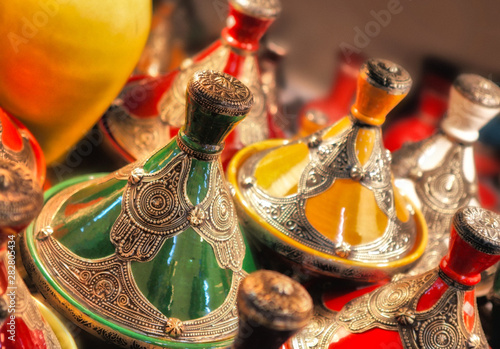 Group of the Moroccan cooking pot the tajine or tagine at local souq bazaar market