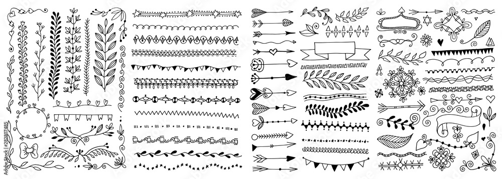 Fototapeta set of hand drawing doodle page divider, border, corner in doodle floral style