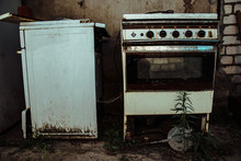 An Old Dirty Gas Stove In An Abandoned State Unsanitary Conditions