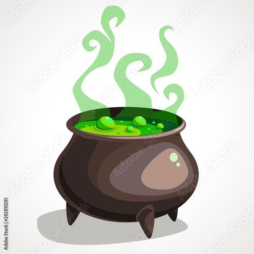 Fototapeta Cartoon witch cauldron with magic green potion and steam obraz