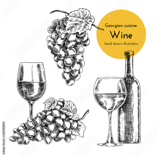 Set of wine illustrations. sketch bottle and glass of wine. hand drawn illustration of a vessel for wine, bunch of grapes