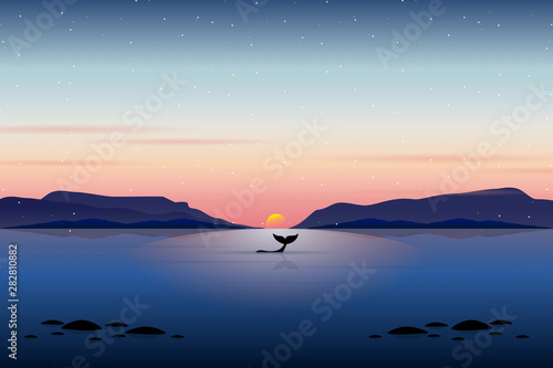 Landscape of silhouette whale with sunset sky background