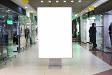 Blank Sign Mock Up In Shopping Mall