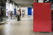 Blank Red Sign Inside Shopping Mall