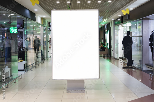 Fotomural  Blank sign mock up in shopping mall