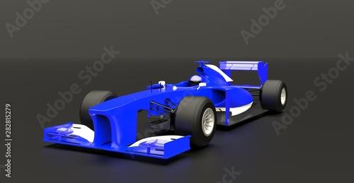 Fototapeta Blue sport car ,race auto, 3d render. obraz na płótnie