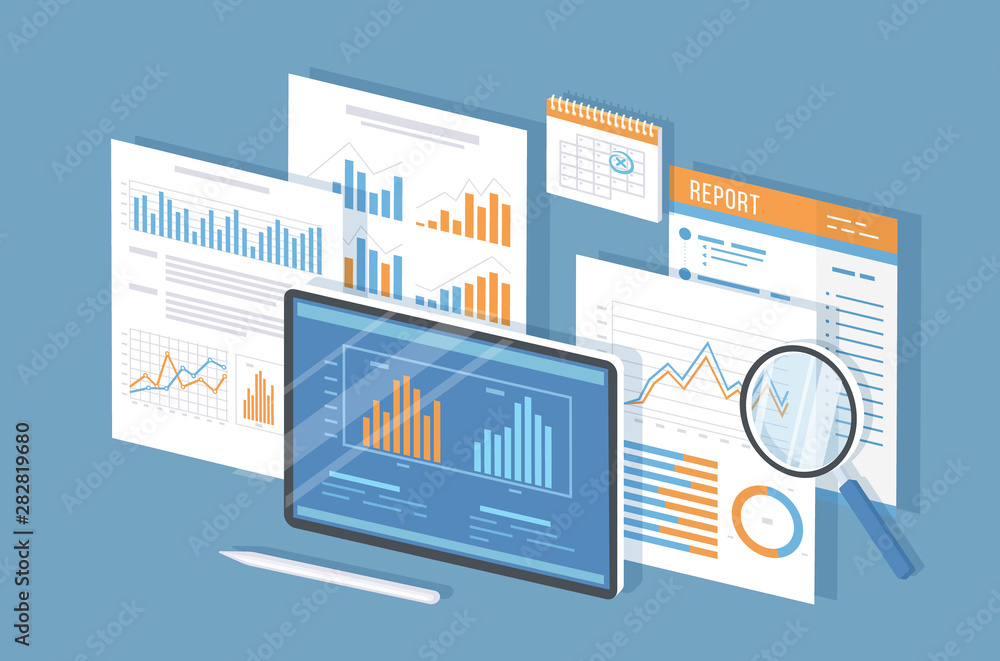 Fototapeta Mobile auditing, data analysis, statistics, research. Tablet with information on the screen, documents, report, calendar, magnifying glass. Isometric 3d vector illustration.