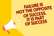 Text sign showing Failure Is Not The Opposite Of Success. It Is Part Of Success. Conceptual photo Make Progress Megaphone loudspeaker yellow background important message speaking loud