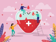 Giant Heart Medicine Design Poster Vector Illustration. Volunteers Put Lifeblood In Heart-shaped Glass With Cross. Cartoon People Standing And Collecting Red Drops Flat Style. Blood Donation Concept