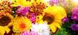 Leinwandbild Motiv bunter Blumenstrauß mit Dahlien - Grußkarte Blumen
