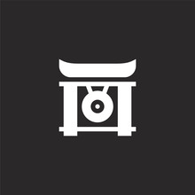 Gong Icon. Filled Gong Icon For Website Design And Mobile, App Development. Gong Icon From Filled Martial Arts Collection Isolated On Black Background.