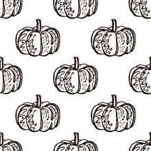 Autumn Seamless Pattern With Hand Drawn Pumpkins