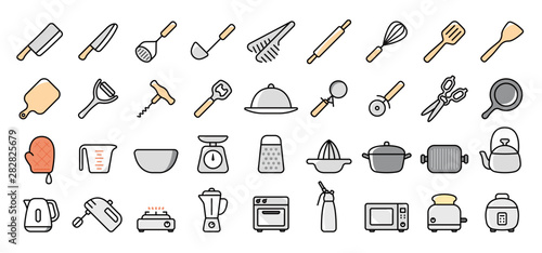 Kitchen Utensils and Tool Icon Set Canvas Print