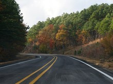 Scenic Road With Colorful Trees At Fall
