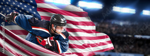 Photo  USA Hockey Player in action around national flags