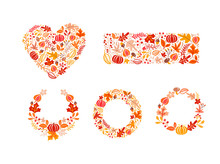 Bundle Set Of Vector Autumn Elements Made In Heart, Rectangle Shape And Wreath. Mushroom, Acorn, Maple Leaves And Pumpkin Isolated. Perfect For Seasonal Holidays, Thanksgiving Day