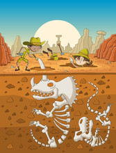 Cartoon Paleontology Kids Work...
