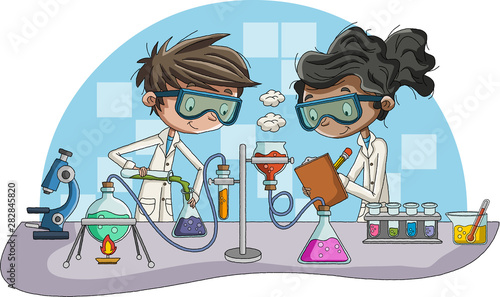 Fotografia Cartoon students doing research with chemical fluid in the laboratory