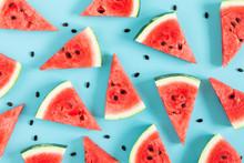 Sliced Watermelon On Light Blu...