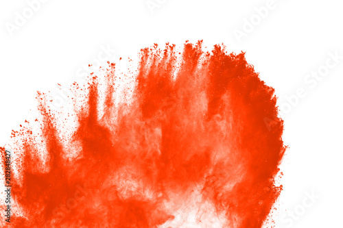 abstract orange powder splatted background,Freeze motion of color powder exploding/throwing color powder,color glitter texture on white background. - 282848427