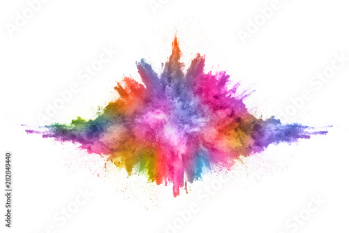 Fototapeta abstract powder splatted background. Colorful powder explosion on white background. Colored cloud. Colorful dust explode. Paint Holi. obraz na płótnie