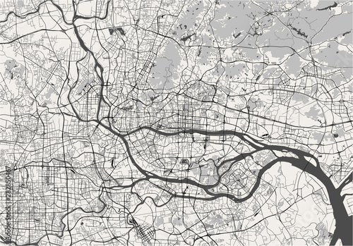 Obraz map of the city of Guangzhou, China - fototapety do salonu