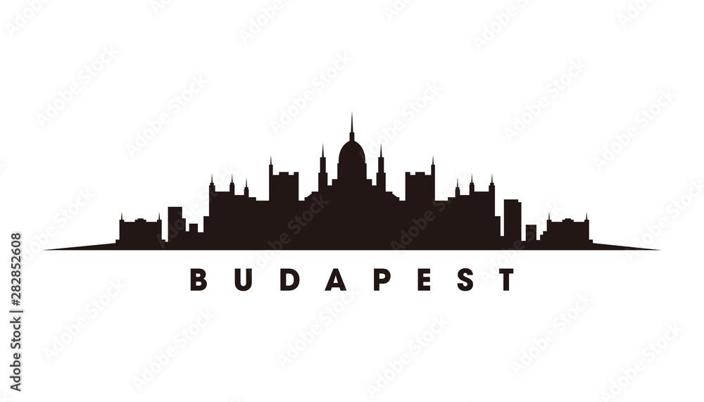 Fototapety, obrazy: Budapest skyline and landmarks silhouette vector