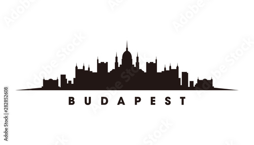 Obraz Budapest skyline and landmarks silhouette vector - fototapety do salonu