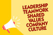 Text sign showing Leadership Teamwork Shared Values Company Culture. Conceptual photo Group Team Success Megaphone loudspeaker yellow background important message speaking loud
