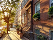 canvas print picture - Old brownstone buildings along a quiet neighborhood street in Greenwich Village, New York City