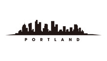 Portland Skyline And Landmarks Silhouette Vector