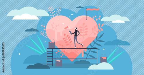 Obraz Passion vector illustration. Flat tiny hobby love feeling persons concept. - fototapety do salonu