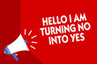 Conceptual hand writing showing Hello I Am Turning No Into Yes. Business photo showcasing Persuasive Changing negative into positive Megaphone red background important message speaking loud