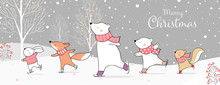Draw Banner Animal On Ice Skates In Snow Winter Concept.