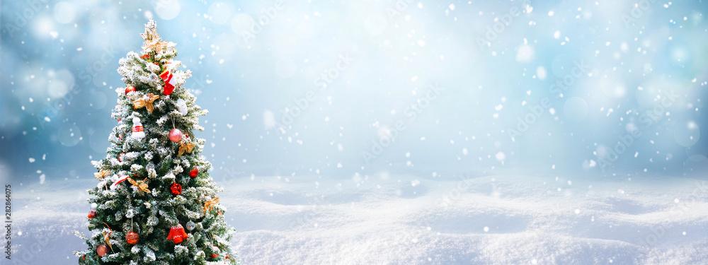 Fotografie, Obraz Beautiful Festive Christmas snowy background