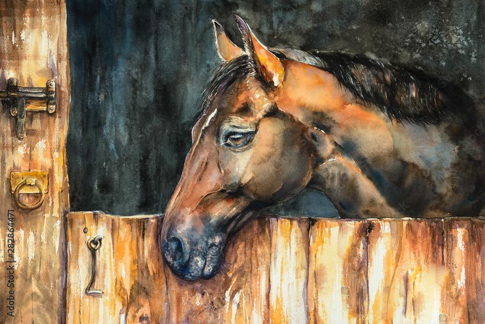 Głowa konia w stajni. Obraz stworzony akwarelami.