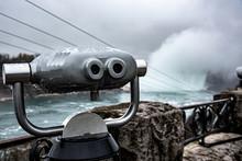 Binoculars Pointing At Niagara Falls