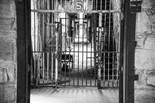 Prison corridor in disrepair Canvas Print