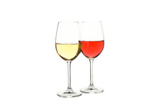 Glasses With Wine Isolated On White Background