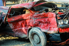 Broken Red Car.