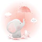 Fototapeta Fototapety na ścianę do pokoju dziecięcego - Cute elephant and bunny with umbrella cartoon hand drawn vector illustration.