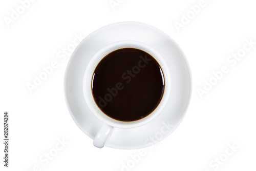 Spoed Fotobehang Cafe Black coffee in a coffee cup top view isolated on white background.