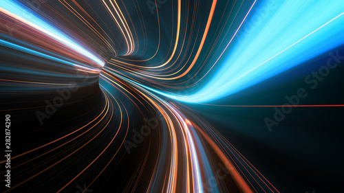 Fotografía  3D Rendering of abstract fast moving stripe lines with glowing sun light flare
