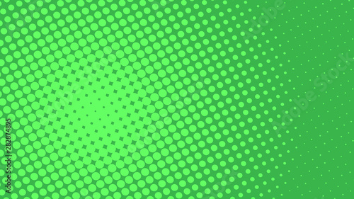 Green retro comic pop art background with dots, cartoon halftone background vector illustration eps10