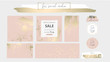 Elegant social media trendy chic gold pink blush banner templates