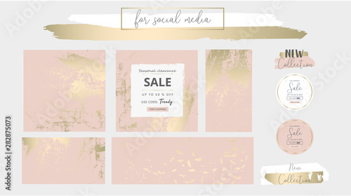 Elegant social media trendy chic gold pink blush banner templates Fototapet
